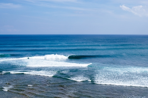 The lineup during the Womens Quarterfinals at the Uluwatu CT, 2018.