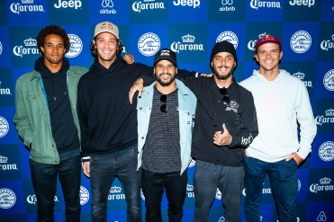 (left to right) 2018 Championship Tour rookie Michael February (ZAF), former two time event winner and current World No.8 Jordy Smith (ZAF), current World No.3 Italo Ferreira (BRA), defending event winner and current World No.2 Filipe Toledo (BRA) and current World No.1 Julian Wilson (AUS) present at the 2018 Corona Open J-Bay press session at Supertubes, Jeffreys Bay, South Africa.