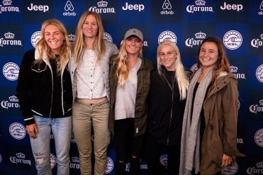 (left to right) 6X World Champion and current World No.2 Stephanie Gilmore (AUS), local favourite Bianca Buitendag (ZAF), current Women's Jeep Leader Lakey Peterson (USA), current World No.3 Tatiana Weston-Webb (HAW) and current World No.5 Johanne Defay (FRA) at the press session for the women's 2018 Corona Open J-Bay at Supertubes, Jeffreys Bay, South Africa.