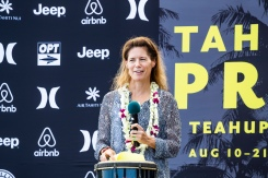 World Surf League CEO Sophie Goldschmidt taking part in the opening ceremony of the 2018 Tahiti Pro Teahupo'o.