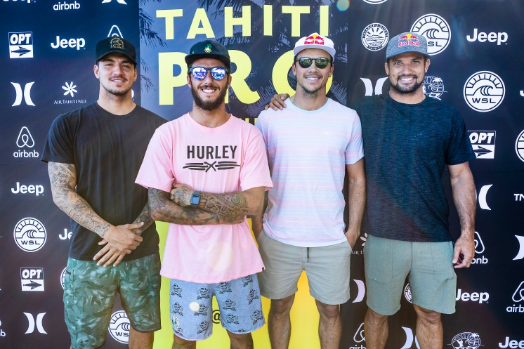 2017 event runner-up Gabriel Medina (BRA), current Jeep Leader Filipe Toledo (BRA), defending event winner Julian Wilson (AUS) and local favourite Michel Bourez (PYF) at the 2018 Tahiti Pro press session excited for the 2018 event at Teahupoo, Tahiti.