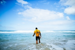Gabriel Medina of Brazil prior to Heat 2 of the Quarterfinals at the Billabong Pipe Masters at Pipeline, Oahu, Hawaii.