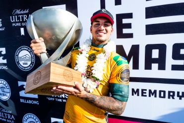 Gabriel Medina (BRA) 2X World Champion and winner of 2018 Billabong Pipe Masters at Pipeline, Oahu, Hawaii, USA.