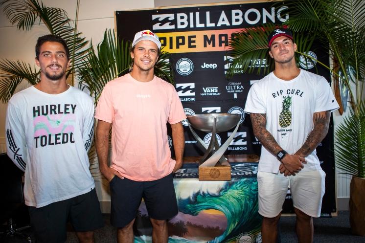 (left to right) 2018 World Title contenders Filipe Toledo (BRA), Julian Wilson (AUS) and 2014 World Champion Gabriel Medina (BRA) at the 2018 Billabong Pipe Masters press session.
